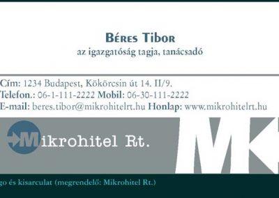 Mikrohitel Rt. névjegykártya